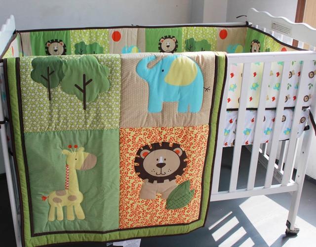 Embroidery Lion Elephant Deer Tree Baby Boy Bedding Set 6pcs Crib Quilt