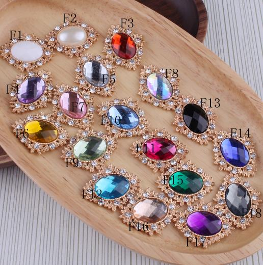 100pcs/lot 18 Colors Decorative buttons Metal Rhinestone buttons for craft Flatback Crystal buttons Horse eye gold buttons mix