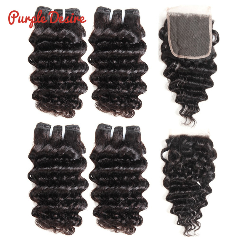 Deep Wave Bundles with Closure 50g Brazilian Hair with Closure 4 Bundles Remy Human Hair with
