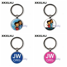 XKLXHJ JW.org Charm Keychain Pin Jehovahs Witness Art Picture Glass Round Blue Jewelry