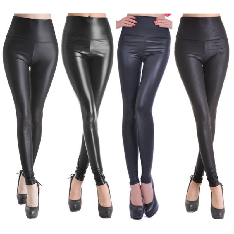 Women High Waist Leggings Faux Leather Black Matt Leggings Satin PU Snake Printing Pants 4 Colors