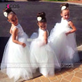 2016 New Arrival White Tulle Pretty Flower Girl Dresses Appliques Kids Evening Gowns Baby Girl Infant Dress Free Shipping SA193