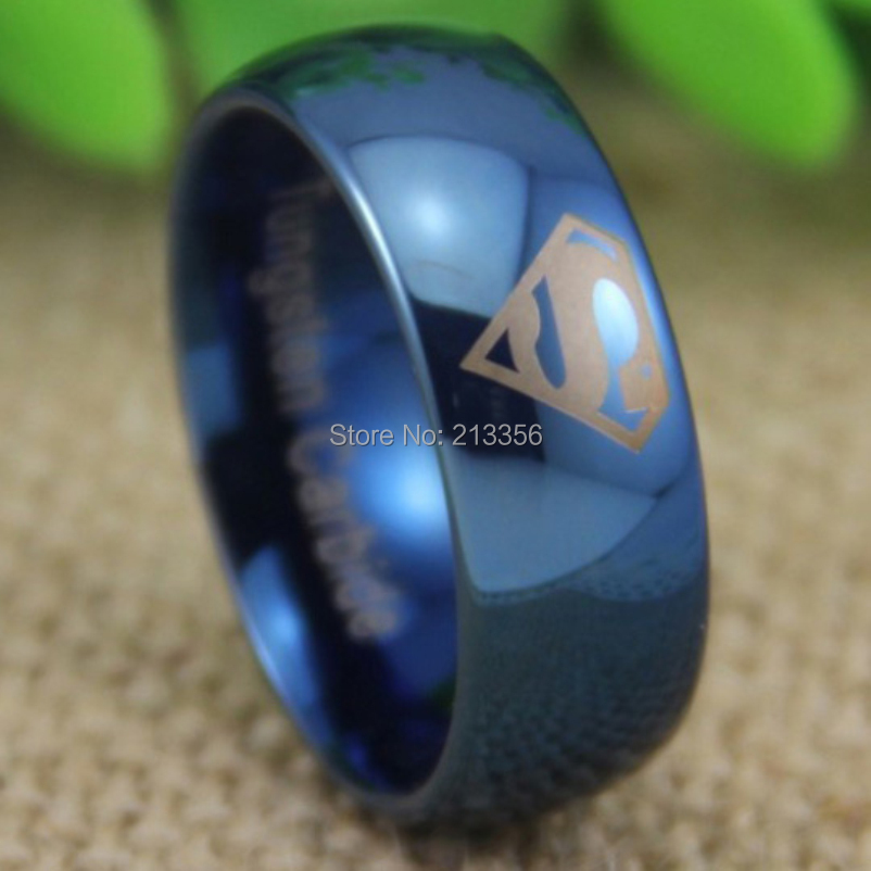 cheap price free shipping usa uk canada russia hot selling 8mm superman shiny blue dome lord - Superman Wedding Ring