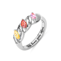 AILIN Fashion Desgin Ring Stone Rings Mothers Day Rings Jewelry Personalized Engraved Three Birthstone Mom's Ring