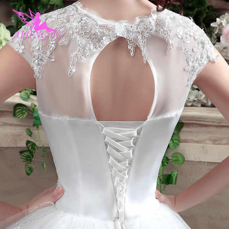 AIJINGYU 2018 güzel ücretsiz kargo yeni sıcak satış ucuz top elbisesi lace up geri örgün gelin elbiseler düğün elbisesi WK316