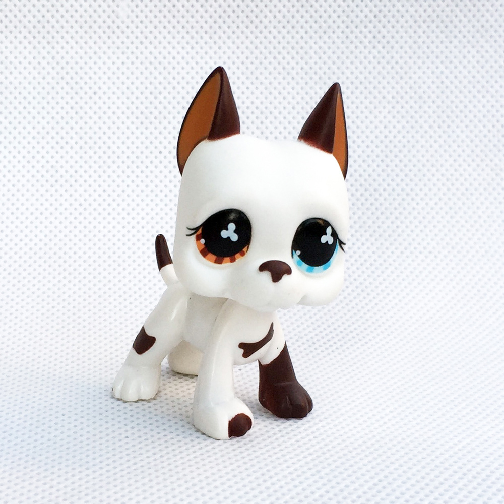rare pet shop lps toys dog great dane #577 littlest Cream white yellow blue eyes old original animal toys free shipping