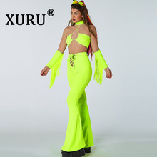 XURU summer new womens tassel jumpsuit two-piece sexy nightclub solid color bandage suit