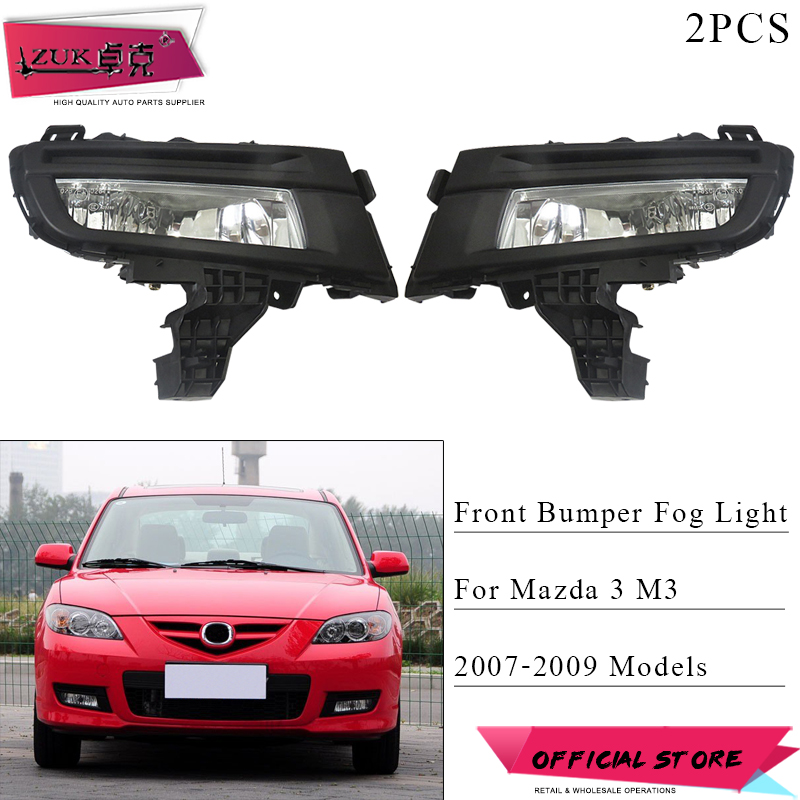 ZUK 2PCS Front Bumper Fog Light 12V 51W For Mazda 3 M3 2007 2008 2009 Daytime