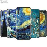 paintings Starry Night Van Gogh Black Soft Case for Samsung Galaxy A50 A70 A40 A10 A20 A30 A60 A9 A8 A6 A7 Silicone Case Cover