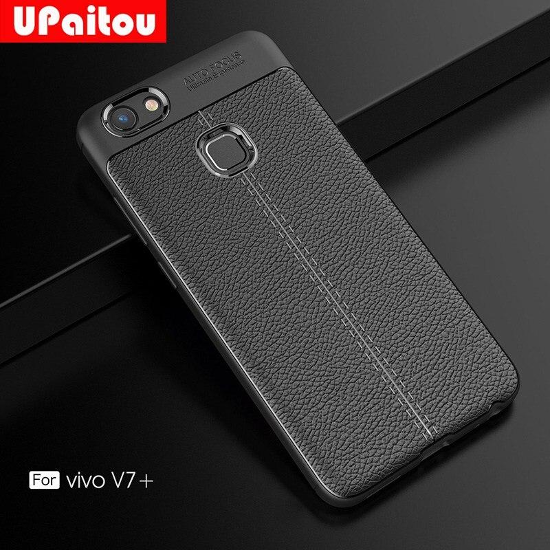UPaitou De Luxe TPU Cas pour BBK Vivo V7 Plus + Cas En Cuir Texture En Silicone Couverture pour Vivo Y79/V7 Plus Couverture de Téléphone Cas