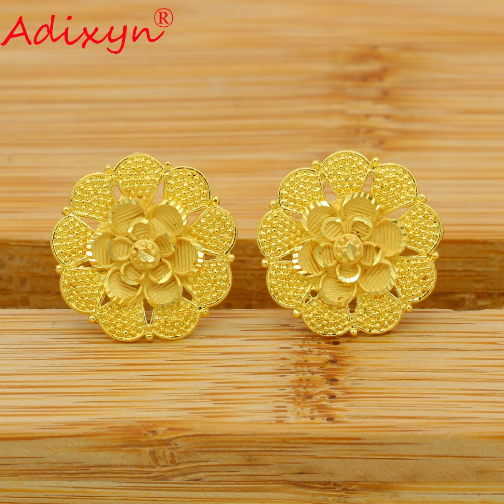 Adixyn Round Ethnic Stud Earrings For Women Gold Color Copper Fashion Jewelry Party Birthday Gifts N02204 in Stud Earrings from Jewelry Accessories