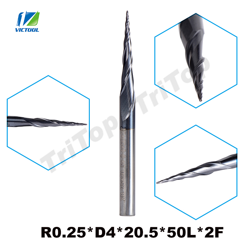 5pcs/lot R0.25*D4*20.5*50L*2F HRC55 Tungsten Solid Carbide Coated Tapered Taper Ball Nose End Mill Cone Type Cnc Milling Cutter