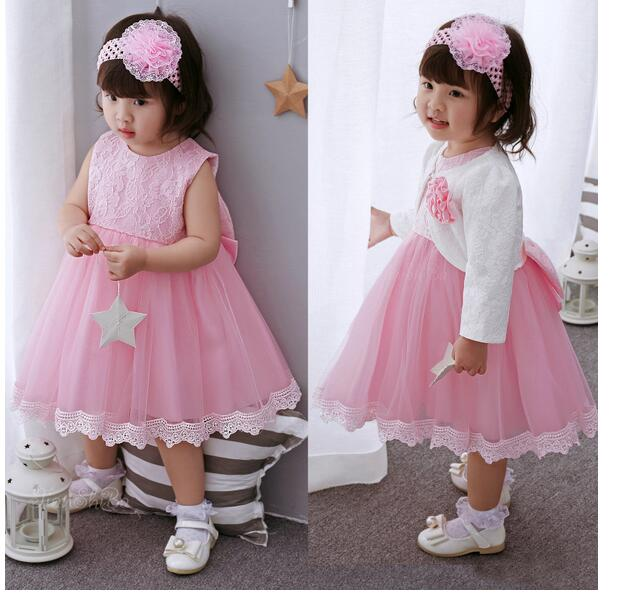 Baby Girl's Pageant Suits 2017 Summer Lace Bow Christening Dress+Headband+Coat Infant 3PCS Sets Kids Birthday Formal Outfits baby girl summer clothing sets 2nd birthday outfits character tutu dress headband dot legging shoes 1st birthday infant clothes