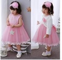 Baby Girl S Pageant Suits 2017 Summer Lace Bow Christening Dress Headband Coat Infant 3PCS Sets