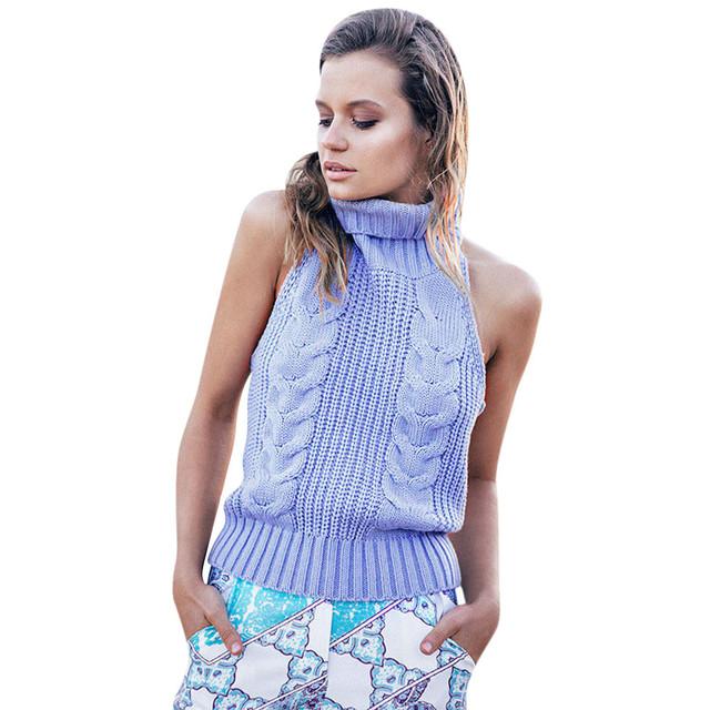 Moda cortar tops Mulheres Casual Gola Alta Sem Mangas Colete de lã knited Croped Tops Partido Clubwear estilo único sexy blackless #5