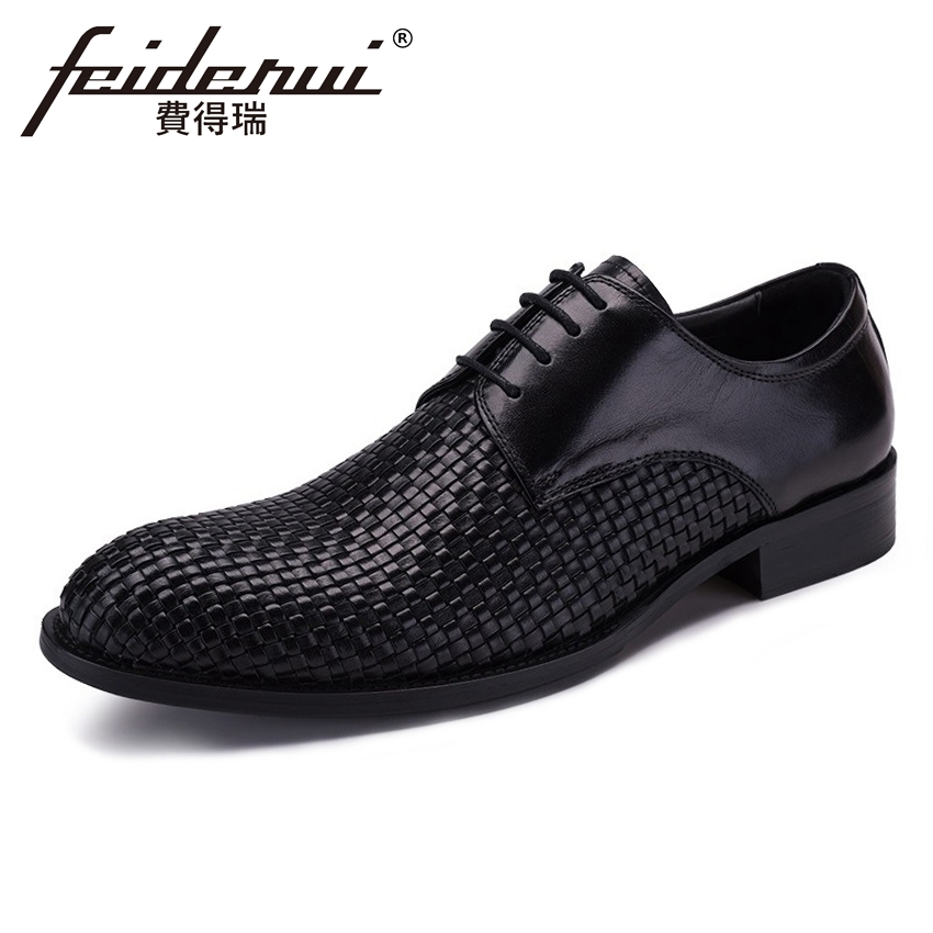New Arrival Mens Formal Dress Footwear Genuine Leather Round Toe Derby Man Flats Handmade Breathable Wedding Party Shoes YMX284