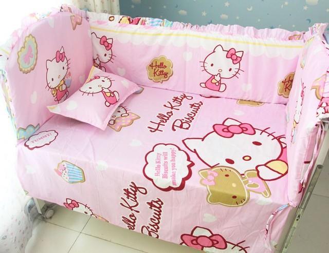 Promoção! 6 PCS olá Kitty jogo de cama 100% algodão conjunto de cama roupa de cama ( pára choques + folha + travesseiro )