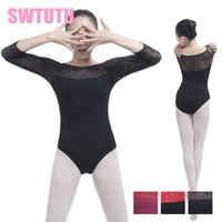 Women Latest Gymnastics Dance Leotards Dancewear Girls 3 4 Sleeves Lace Ballet Clothes For SaleCS0192