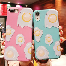 купить Omelette Case For iPhone 7 8 X Pink Phone Cases For iPhone 6 6s Plus Sky Blue Pattern Cover Skin Cute Shell по цене 193.44 рублей