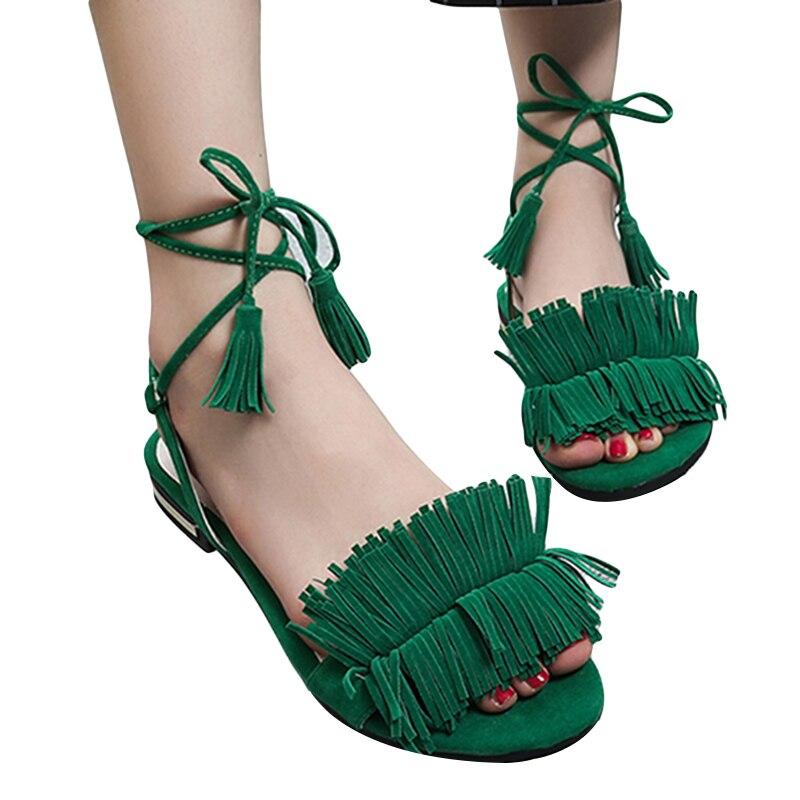 À forme Cheville Femmes Sandales 2018 Noir Gland Caoutchouc red Femme Black Plate Rouge Faible green Talon En Gladiateur Sangle D'été Chaussures AqOx85wz