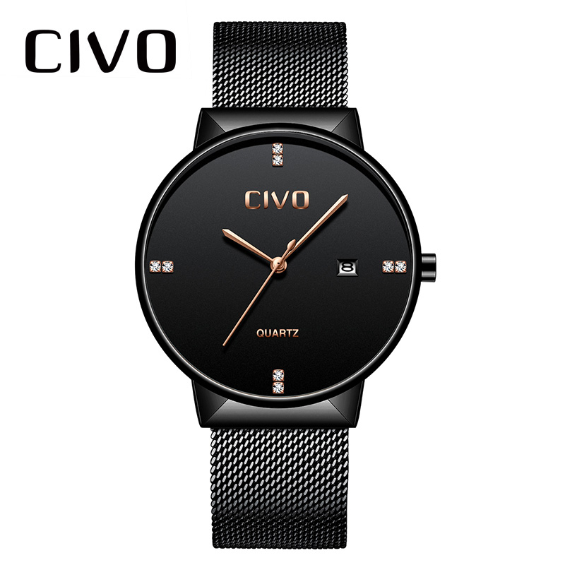 Men Watch Top Brand CIVO Luxury Quartz Wrist Watch For Men Clock Waterproof Analogue Stainless Steel Mesh Strap Watch Men 9164C fashion casual watch men civo waterproof date calendar analogue quartz men wrist watch brown genuine leather watch for men clock
