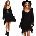 2016 Summer Dress The above knee long sleeved casual tassel Sexy dress Plus Size MT004