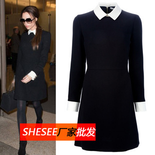2017free Shiping New Star With Money White Collar Victoria Beckham Black Dress In Dresses From Women S Clothing On Aliexpress Alibaba Group