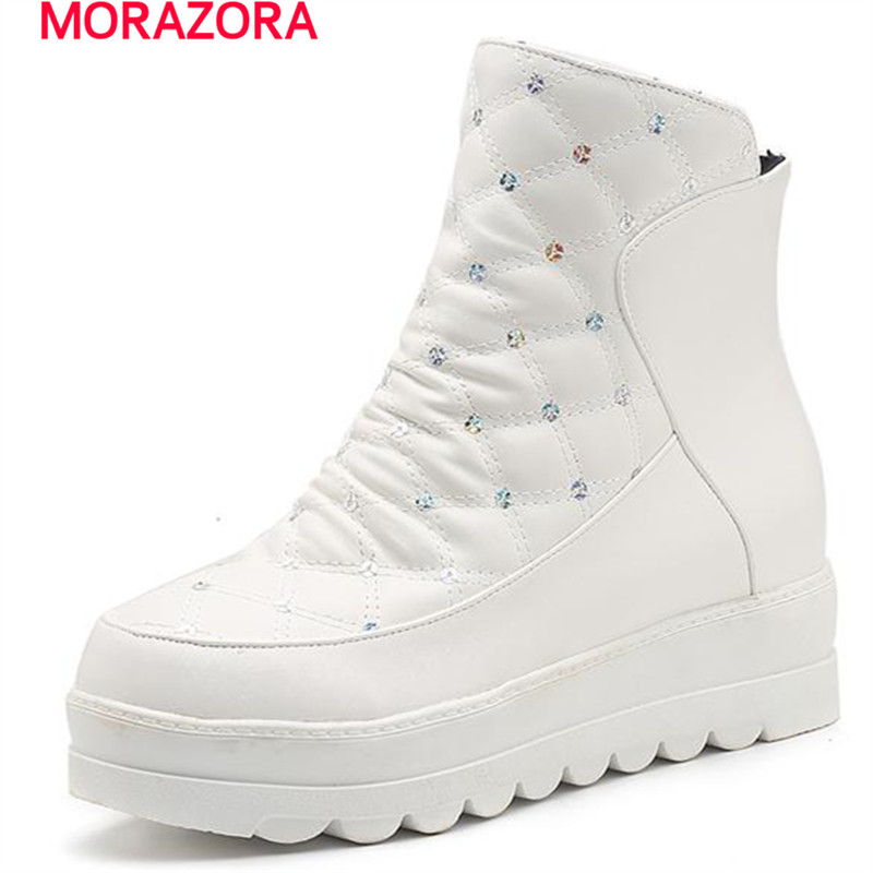 MORAZORA 2018 new women boots in winter ankle boots platform shoes solid two colors height increasing fashion comfortable shoes