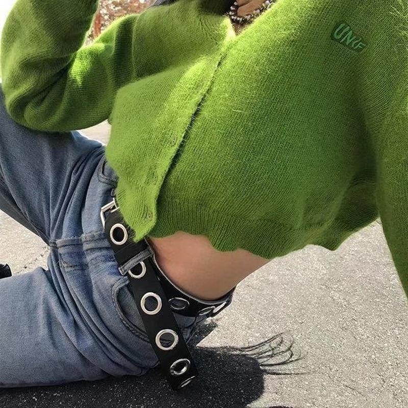 c6372398544e Unif de las mujeres del bordado Chaqueta corta con cuello en V de manga  completa chica Simple/suéter de La Rebeca/60 s 70 s suéter de La Rebeca  Tops de moda ...