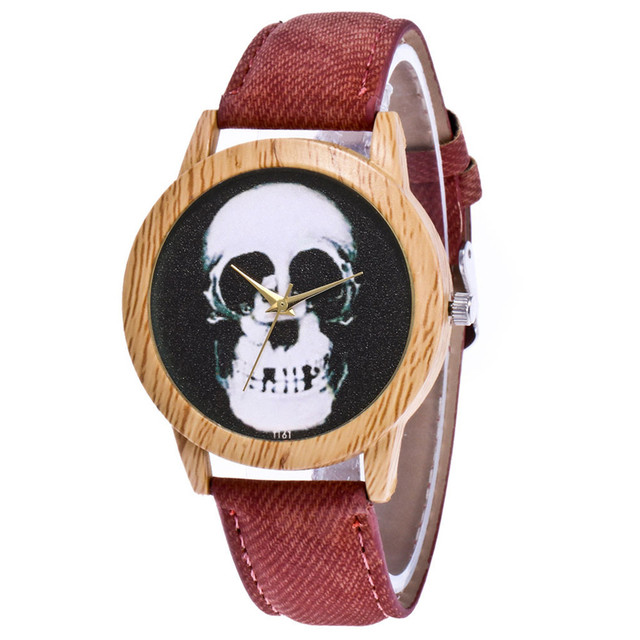 Skull Printed Women's Black Quartz Wristwatches Casual Leather Strap Watchband Analog Quartz Round Watch Vintage Dropshipping 1