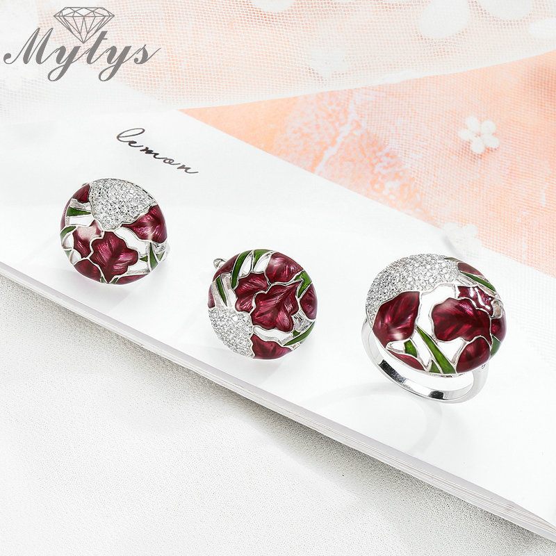 Mytys Fashion Jewelry Sets Enamel Ring and Earrings Sets Color Glazed Decoration Ethnic Design Flower Pattern Jewellery Sets