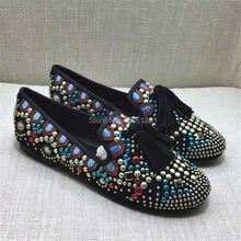 แฟชั่นผู้หญิงRhinestoneเต็มรูปแบบฝอยแฟลตRivetsรองเท้าผู้หญิงT Assels E Spadrilles C Reepersบัลเล่ต์โลฟเฟอร์Z Apatos Mujer