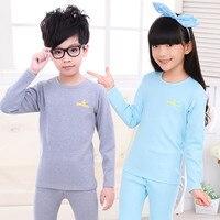 2015 Autumn Winter Kids Thermal Underwear Set Combed Cotton Boys Girls Long Johns Children Underwear 5M