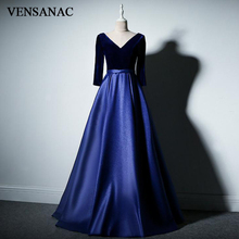 VENSANAC 2018 V Neck Velour Long Sleeve A Line Evening Dresses Elegant Satin Sash Open Back Party Prom Gowns