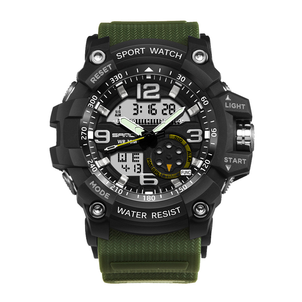 Digital Analog Dual Time Sport Watch Zones Calendar Chronograph Military Resin Wrist Watch Men 34
