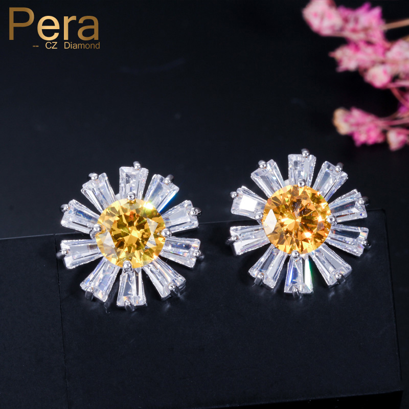 Pera Romantic Cute Sterling Silver 925 Ear Jewelry Big Sun Flower Shape Yellow White Ctystal Stone Stud Earrings for Women E080