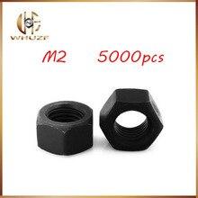 5000 sztuk nakrętka ze stali nierdzewnej M2 o wysokiej wytrzymałości stal węglowa klasa 8 czarny nakrętka sześciokątna 100% nowe nakrętki sześciokątne śruby, gwoździe, nitownica
