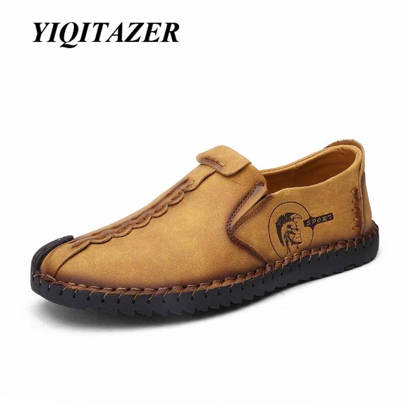 YIQITAZER 2018 Ljetna gumena potplata Cipele za muškarce Cipele casual, Slipon Light Mekane cipele Muške cipele Koža Žuta Crna