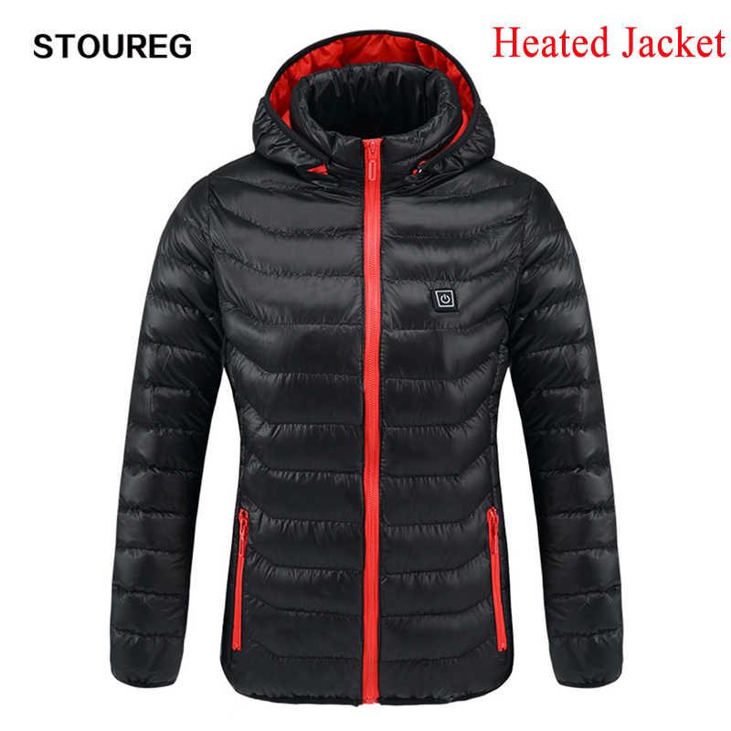 冬暖かい加熱ジャケット女性男性スマートサーモスタット純粋な色温水ジャケット防水スキーハイキングジャケット