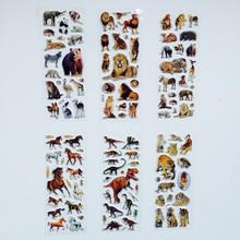 בעלי חיים פראי Scrapbooking בועה נפוח מדבקות נמרים אריות דינוזאור מדבקות ילדים צעצועים