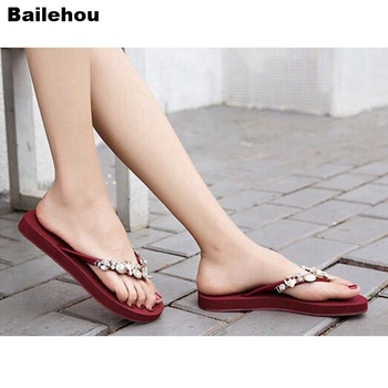 Bailehou Women Beach Slippers Rhinestone Crystal Flip Flops Home Outside Slipper Women Flat Sandals Slip On Slides Non-Slip Shoe 1