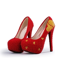 550fb4e98a1384 Red Imitation Pearl Wedding Shoes with Gold Rhinestone Heart Woman Bridal  Shoes Thin Heels Annversary Ceremony