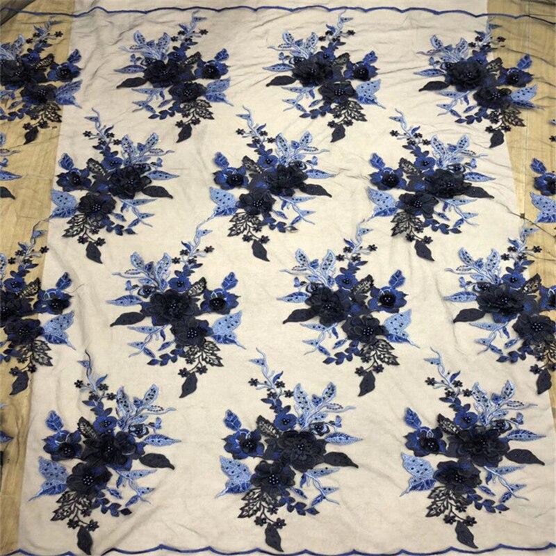 1 yarda con 12 piezas 3d flor bordado tul tela cuentas encaje africano tela costura boda parche vestido ropa Patchwork diy-in Tela from Hogar y Mascotas    1
