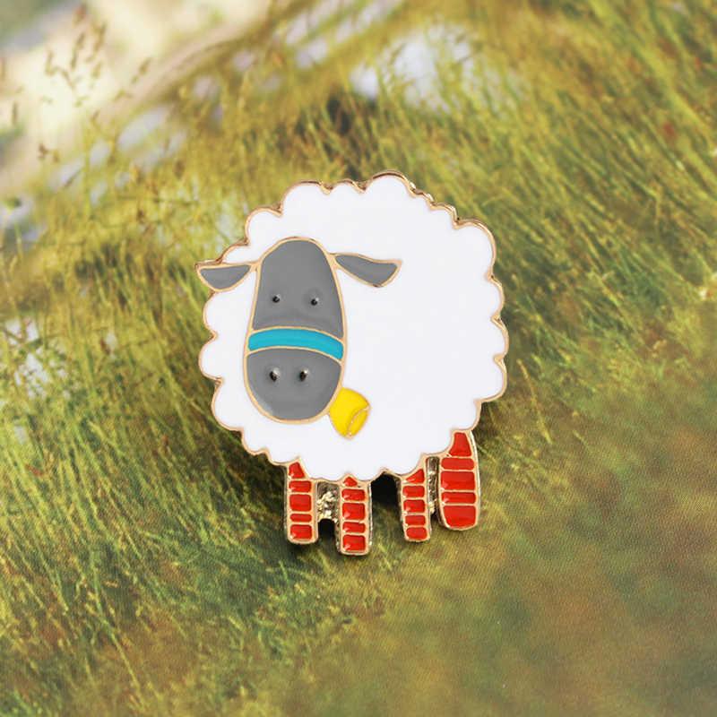Cừu Thổ Cẩm Họa Tiết Hoạt Hình Dễ Thương Alpaca Thịt Cừu Len Trắng Men Pin Denim Áo Thun Động Vật Huy Hiệu Trẻ Em Hoạt Hình Trang Sức Quà Tặng Sinh Nhật
