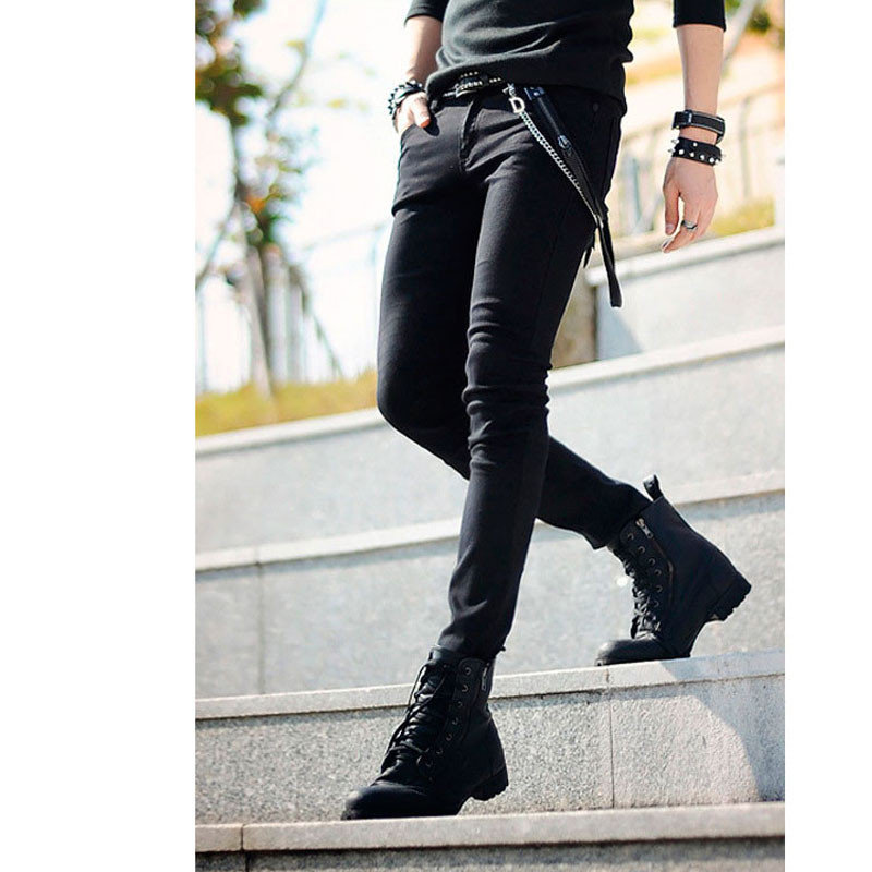 f8a457a2470 Hot Selling Mens Korean Designer Black Slim Fit Jeans Punk Cool Super  Skinny Pants With Chain For Male-in Jeans from Men s Clothing on  Aliexpress.com ...