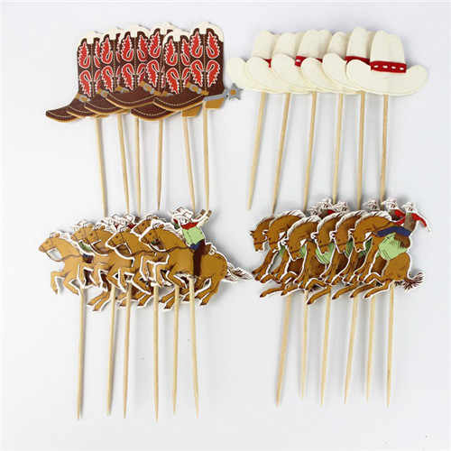 24pcs (4 style, each style 6pcs) West Cowboy Cupcake Topper Happy Birthday Party Children Party Kids Cake Decor Supplies