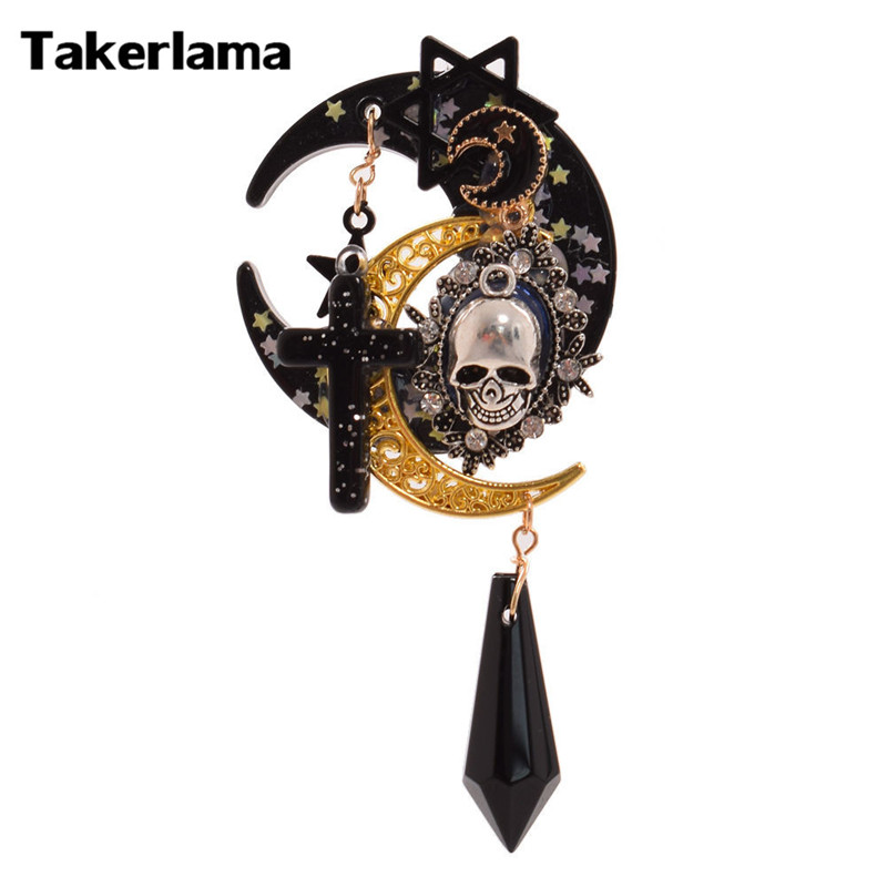 Takerlama Lolita Trappings Gothic Girls Cross Pentacle Stars Moon Skull Hair Clip Lolita Girls   Headwear   Hat Clip