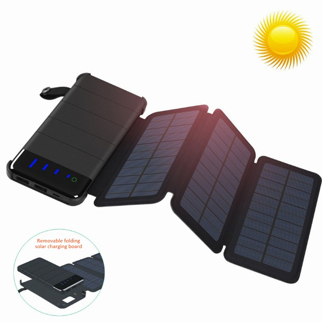 Solar Panel Charger Mobile Power 10000mAh Mobile Phone Battery Dual USB Port Outdoor Portable Folding Waterproof Power Supply 2