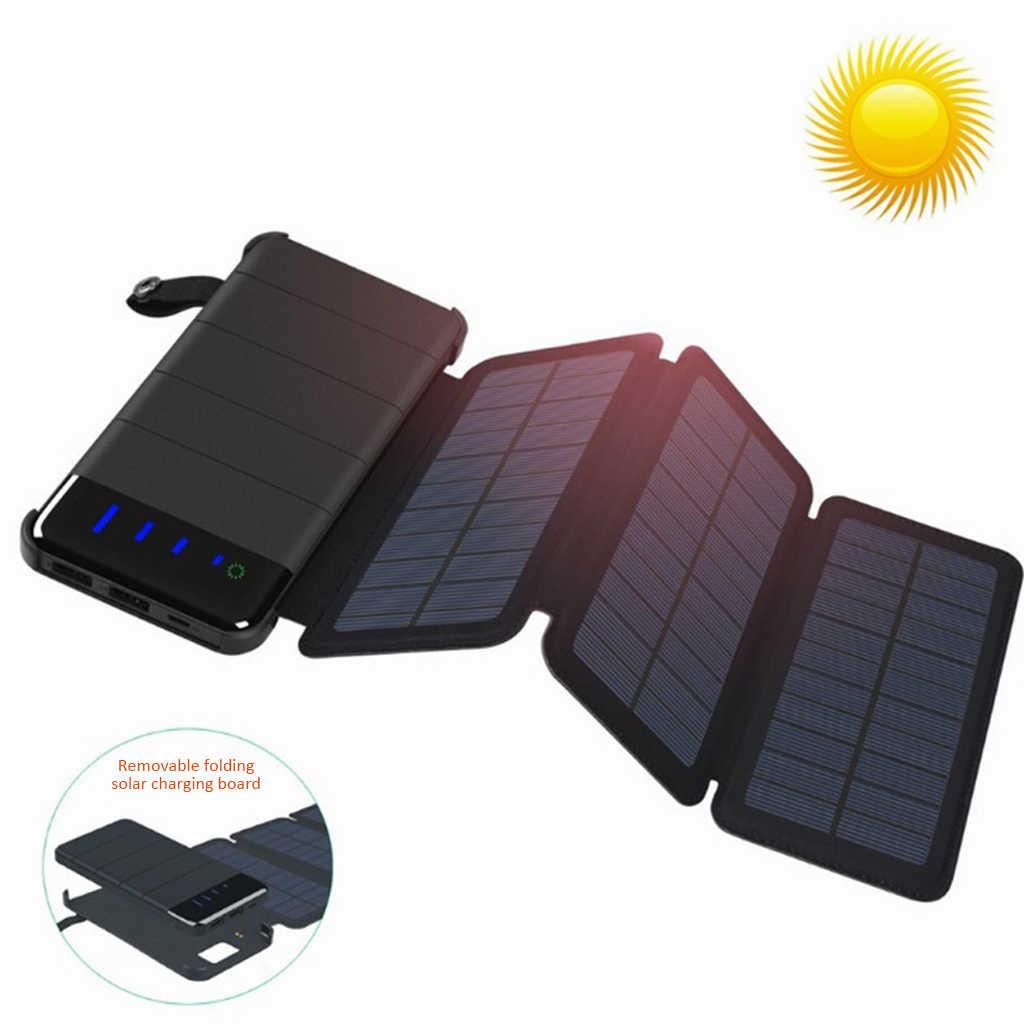 Cargador de panel Solar de energía móvil fuente de alimentación resistente al agua Puerto USB dual 10000mAh batería de teléfono móvil plegable portátil al aire libre
