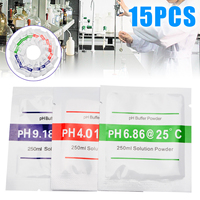 15pcs PH Meter Buffer Powder Measure Calibration Solution PH 6.86/4.01/9.18 With 250ML Distilled Water for Measure Water Testing